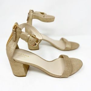 New Cole Haan Metallic leather ankle strap heels